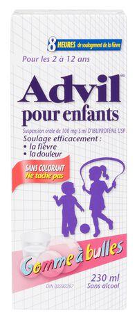 SUSPENSION ADVIL POUR ENFANTS SANS COLORANT - GOMME À BULLES 230 ML - image 2 de 2