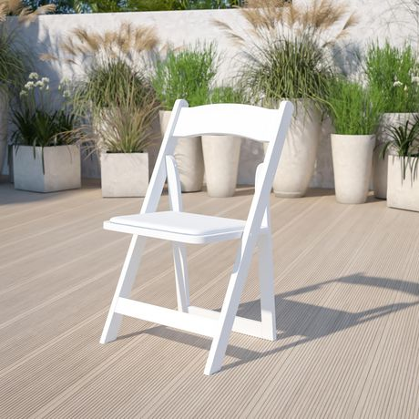 Flash Furniture Hercules Series White Wood Folding Chair with Vinyl Padded Seat - image 2 of 7
