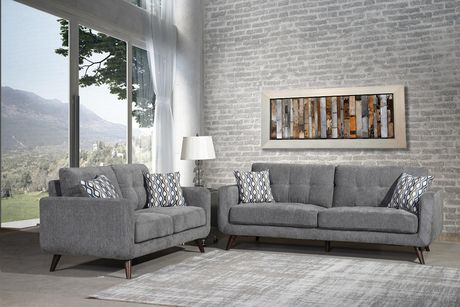 Tremendous Topline Home Furnishings 2 Pc Grey Sofa And Loveseat Set Interior Design Ideas Gentotthenellocom