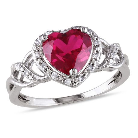 Tangelo 1-5/8 Carat T.G.W. Created Ruby and Diamond-Accent Sterling Silver Heart Ring - image 1 of 5