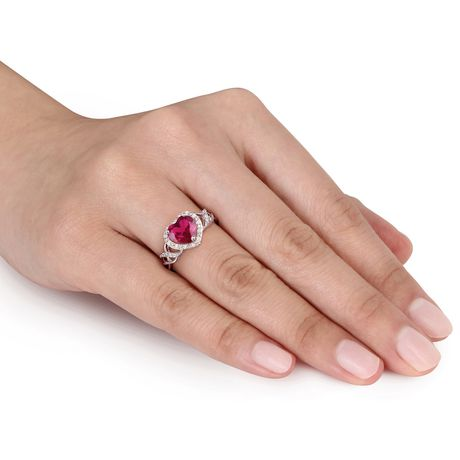 Tangelo 1-5/8 Carat T.G.W. Created Ruby and Diamond-Accent Sterling Silver Heart Ring - image 4 of 5