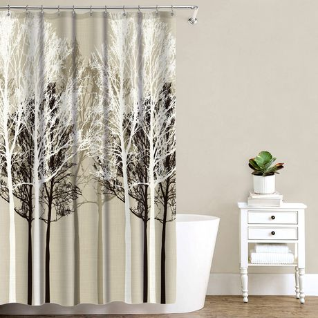 Mainstays Beige Forest Shower Curtain