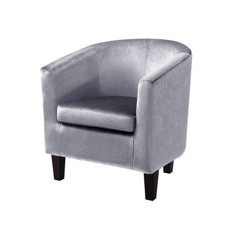 corliving antonio silver grey velvet tub chair walmart. Black Bedroom Furniture Sets. Home Design Ideas
