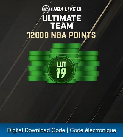 PS4 - NBA LIVE 19 - 12000 LIVE ULTIMATE TEAM POINTS [Download] - image 1 de 1