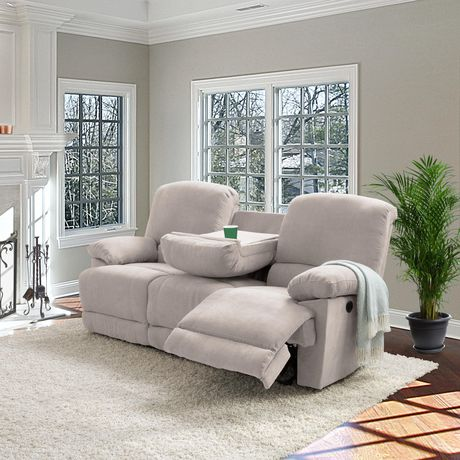 CorLiving Plush Power Reclining Chenille Fabric Sofa with Fold-Down Console and Cupholders with USB Port - image 6 of 9