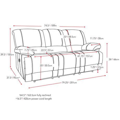 CorLiving Plush Power Reclining Chenille Fabric Sofa with Fold-Down Console and Cupholders with USB Port - image 7 of 9