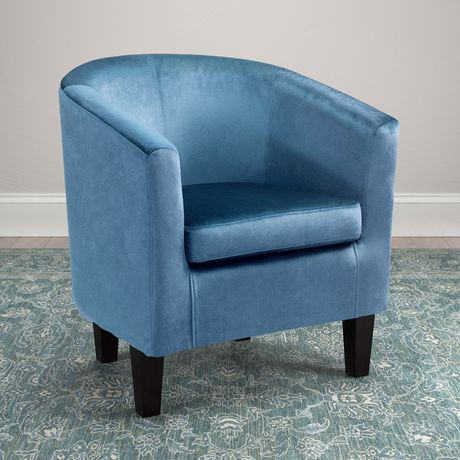 Corliving Antonio Blue Velvet Tub Chair Walmart Canada