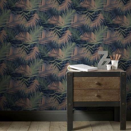 graham brown glamour jungle bleu vert cuivre papier peint amovible walmart canada. Black Bedroom Furniture Sets. Home Design Ideas