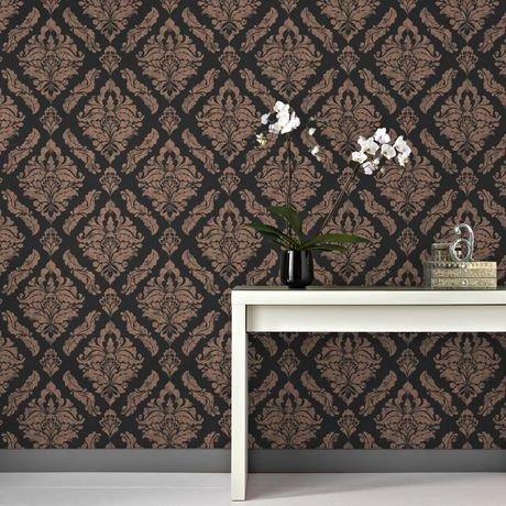 graham brown damaris noir or rose papier peint amovible walmart canada. Black Bedroom Furniture Sets. Home Design Ideas