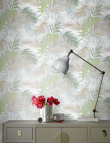 Graham Brown Jungle Glam Greenwhitetaupe Removable Wallpaper