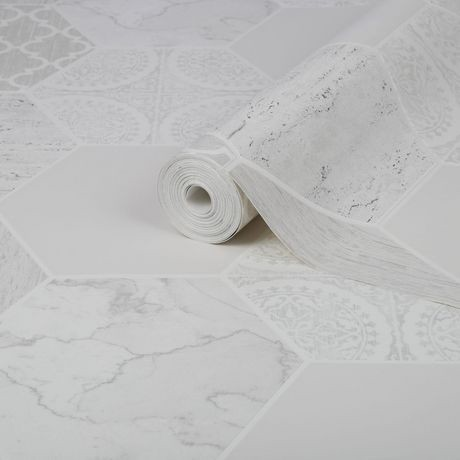 graham brown marbre hexagonal gris blanc papier peint amovible walmart canada. Black Bedroom Furniture Sets. Home Design Ideas