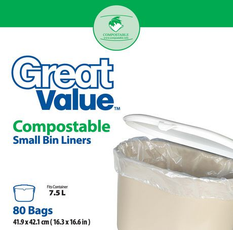 great value compostable small bin liners walmart canada. Black Bedroom Furniture Sets. Home Design Ideas