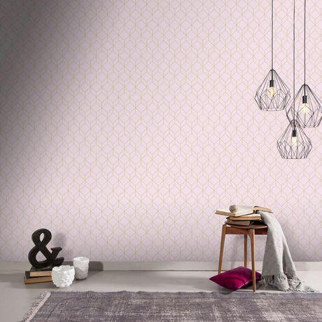 Graham Brown Myrtle Geo Pink Rose Gold Removable Wallpaper