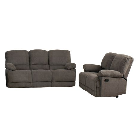 Corliving Lea Grey Chenille Fabric Reclining Sofa Set Walmart Canada