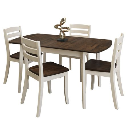 69f33738181 CorLiving Dillon 5 Piece Extending Oblong Cream and Dark Brown Wood Dining  Set - image 1 ...