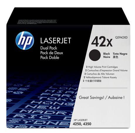 HP 42X(Q5942XD) Ens. 2 cartouches de toner LaserJet noir à rendement élevé d'origine - image 1 de 1