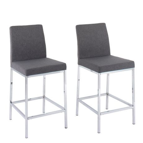 Corliving Huntington Chrome And Grey Fabric Bar Stools