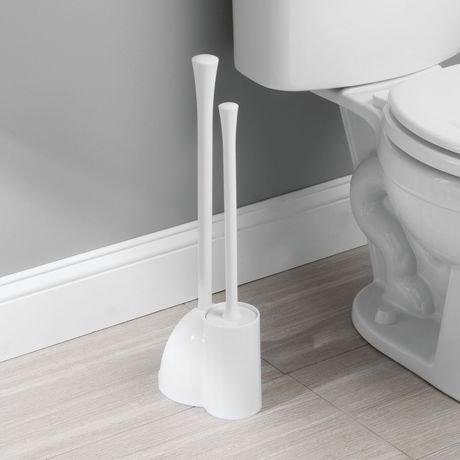 Mainstays Slim Hideaway White Toilet Bowl Brush And