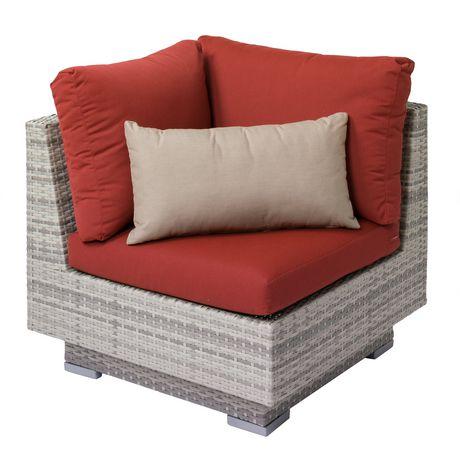 Corliving Azure Outdoor Patio Wicker Corner Chair With Red Sunbrella
