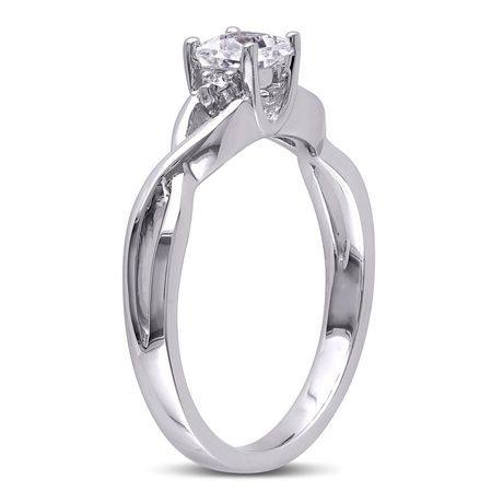 Miabella 0.38 Carat T.G.W. Created White Sapphire And Diamond Accent Sterling Silver Cross-Over Promise Ring - image 2 of 5