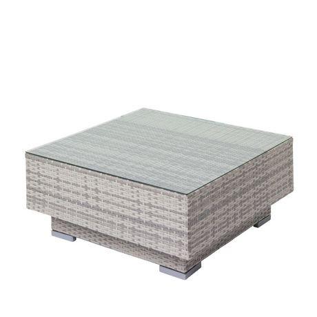table basse pour patio azure de corliving en osier avec plateau en verre pour l 39 ext rieure. Black Bedroom Furniture Sets. Home Design Ideas