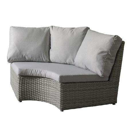 CorLiving Brisbane Weather Resistant Resin Wicker Curved Corner Patio Chair - image 1 of 7