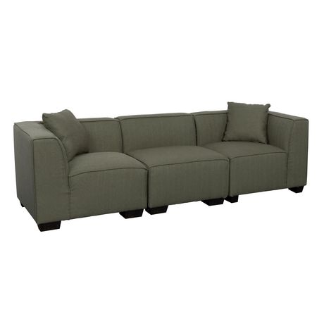 Corliving lida greenish grey fabric 3 piece sectional sofa for Walmart grey sectional sofa
