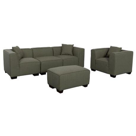 Corliving lida greenish grey fabric 5 piece sectional sofa for Walmart grey sectional sofa
