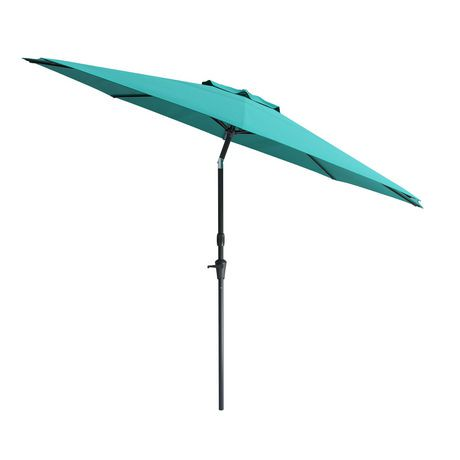 Corliving 10 39 wind resistant tilting patio blue umbrella for Wind resistant material
