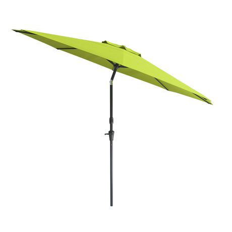 Corliving 10 39 wind resistant tilting patio green umbrella for Wind resistant material