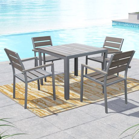 grey outdoor dining set resin corliving pjr573z2 gallant sun bleached grey outdoor dining set