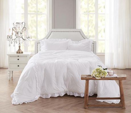 Miraculous Shabby Chic White Ruffle Comforter Set Download Free Architecture Designs Grimeyleaguecom