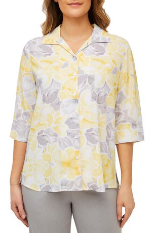cfdbc7656db85e Alia Women's 3/4 Sleeve Crinkle Button Front Blouse | Walmart Canada