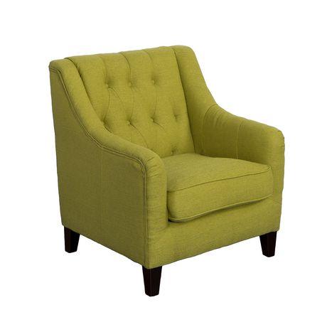 Corliving Dana Diamond Green Linen Fabric Tufted Accent Chair