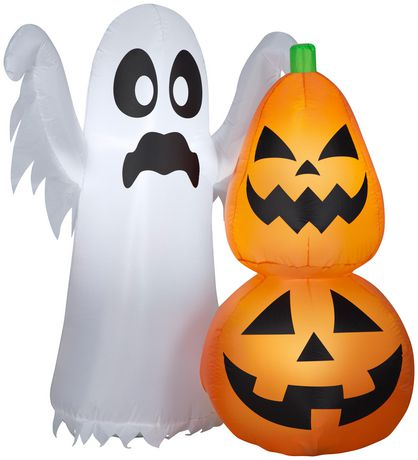 Airblown Inflatable 4' Ghost and Pumpkin - image 1 of 1