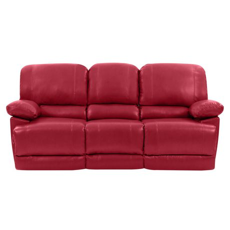 CorLiving Lea Reclining Red Bonded Leather Sofa