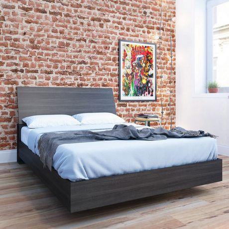 Lit plateforme double Tribeca de Nexera avec tête de lit en ébène - image 1 de 5