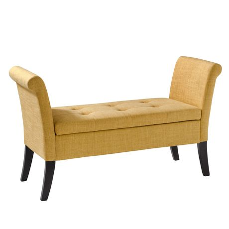 CorLiving Antonio Yellow Fabric Storage Bench With Scrolled Arms   Walmart  Canada