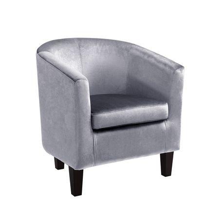 corliving antonio silver grey velvet tub chair. Black Bedroom Furniture Sets. Home Design Ideas
