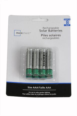 Mainstays NiMh Solar AAA Battery - Pack of 8 | Walmart Canada