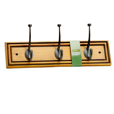 Stanley Home Designs 3 Hook Wood Rail   Maple