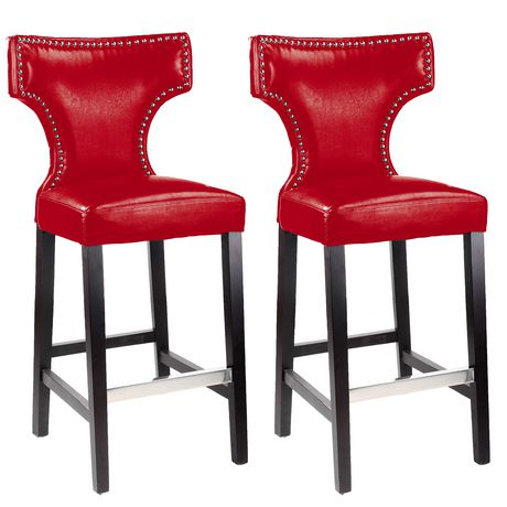 Corliving Kings Set Of 2 Red With Metal Studs Counter Height