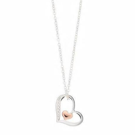 La rocks silver plated double heart pendant necklace walmart canada mozeypictures Image collections