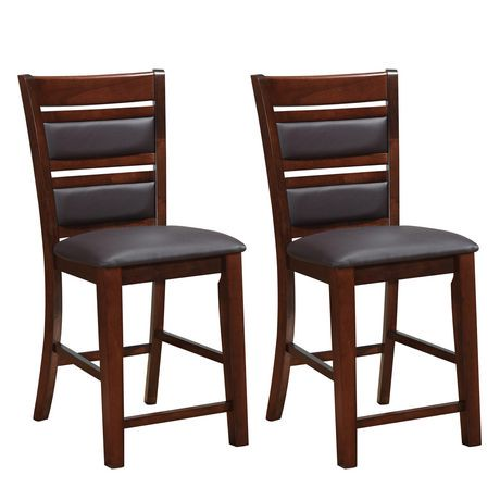 corliving set of 2 chocolate brown bonded leather counter height dining chairs. Black Bedroom Furniture Sets. Home Design Ideas