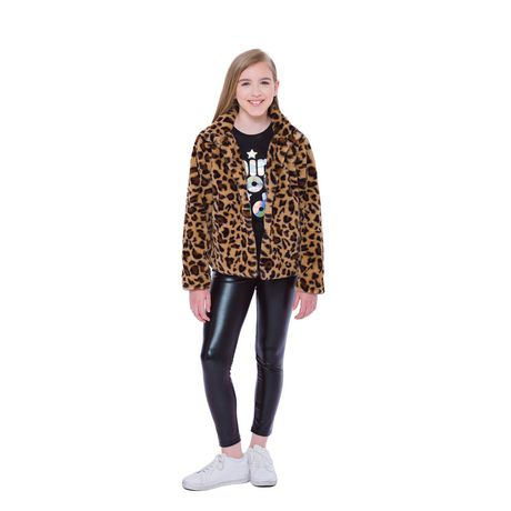 Girls Mini Pop Kids Animal Vibe Faux Fur Jacket - image 1 of 7