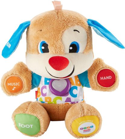 Stuffed brown puppy toy with blue ears and various buttons on its paws, made by Fisher-Price