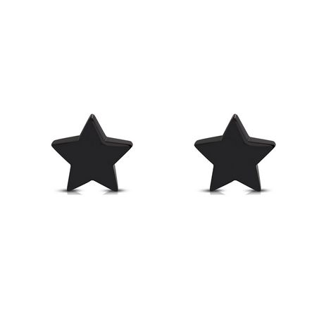 Pure316 - Women's 316L Black Stainless Steel 7.5mm Star Stud Earrings - JK-ZEM385 - image 2 of 3
