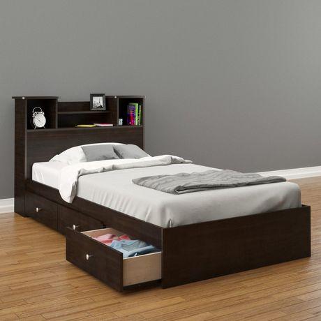 lit simple pocono de nexera rangement intgr avec tte de lit en espresso - Lit Simple