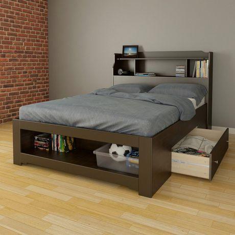 lit double dixon de nexera rangement int gr avec t te. Black Bedroom Furniture Sets. Home Design Ideas