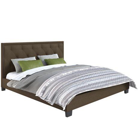 Lit plateforme capitonné Fairfield de CorLiving en brun avec tête de lit touffeté en losanges - image 1 de 5